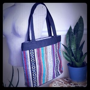 Authentic Mexican Stripe Fabric Zippered Tote Bag